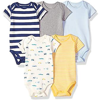 Moon and Back Baby Set of 5 Organic Short-Sleeve Bodysuits, Cars, 0-3 Months