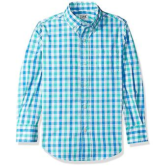 LOOK by Crewcuts Boys' Long Sleeve Gingham Shirt, Blue/ Green Check, XX-Large...