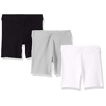 Essentials Little Girls' 3-Pack Cart-Wheel Short, Black/Heather Grey/B...