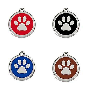 Red Dingo Pet Collar Identification Tag - Paw Print