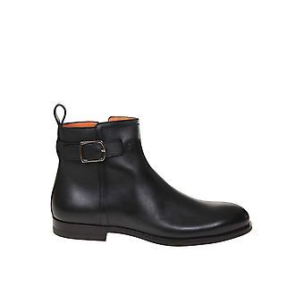 Santoni Mgnp17310smoiclbn01 Men's Black Leather Ankle Boots