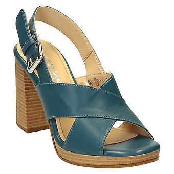 Slingback åpen tå strappy sandaler i denim farge skinn