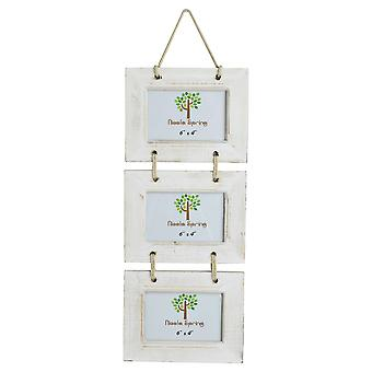 "Nicola Spring Triple White Wooden 3 Photo Hanging Picture Frame - 6 x 4"" - Pack Of 5"