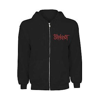 Men's Slipknot Skull Teeth Emblem Zip-Up Black Hoodie