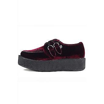 TUK Shoes Burgundy Velvet Viva High Sole Creeper