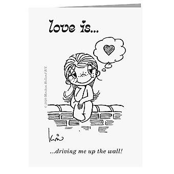 Liebe treibt mich auf die Wand-Grußkarte