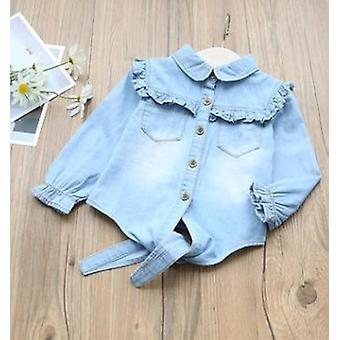 Spring Baby Girls Blouse Turn-down Collar ,ruffles For -cowboy Jeans Shirts