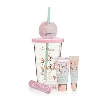 Style & Grace Bubble Boutique Travel Cup Mini Collection - 30ml Hand Lotion, 8ml Vanilla Lip Gloss, Nail File and Drinking Cup