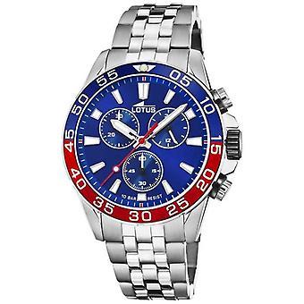Bracelet lotus pour homme;s en acier inoxydable | Cadran bleu | Lunette bleue/rouge L18765/3 Montre