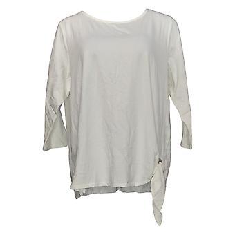 Belle por Kim Gravel Women's Top 3/4-Sleeve Grommet T-Shirt White A347135