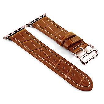 Strapsco dassari croc embossed leather strap w/ hermes rose gold buckle style for apple watch
