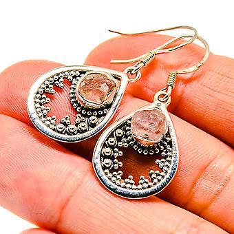 "Rough Rose Quartz Earrings 1 1/2"" (925 Sterling Silver)  - Handmade Boho Vintage Jewelry EARR408013"