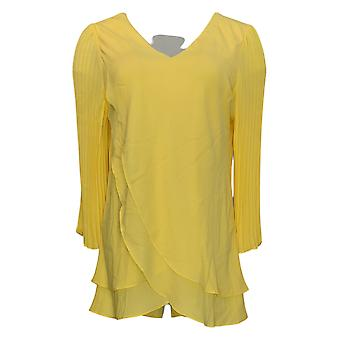 Laurie Felt Women's Top Woven Reversible Plited Sleeve Yellow A379346
