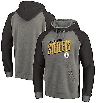 Pittsburgh Steelers Slant Strike Tri-Blend Raglan Pullover Hoodi Top WY055