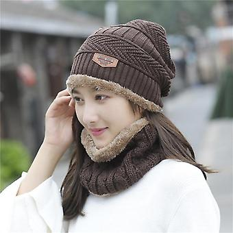 Winter Women's Knit Hat Autumn Wool Cap Fashion Balaclava Two-piece Men's