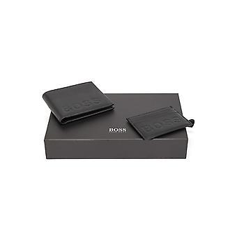 هوغو بوس الاكسسوارات هوغو بوس الرجال & apos;ق شعار أسود منقوش محفظة جلدية ومجموعة هدية بطاقة