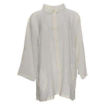 Linea Door Louis Dell'Olio Women's Plus Top Button Front Shirt Ivory A351412