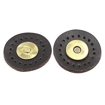 3cm Hand Stitched Leather Buckle Magnetic Sewing Magnet Snap Button Clasp Black