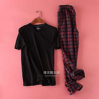 100% Cotton Sleepwear Pajamas Hombre Short Sleeve Sets For Male