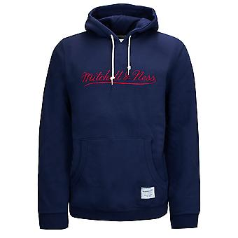 Mitchell & Ness Branded Essentials Hoodie Mens Logo Sweatshirt Navy FPHDNG18709