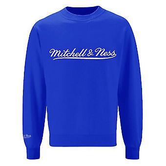 Mitchell & Ness Script Logo Blue Crew Neck Sweatshirt Mens Pullover Jumper A39B