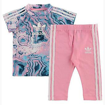 Adidas Girls Marble Tee Set T-Shirt Robe Leggings Outfit Baby Toddlers DV2325