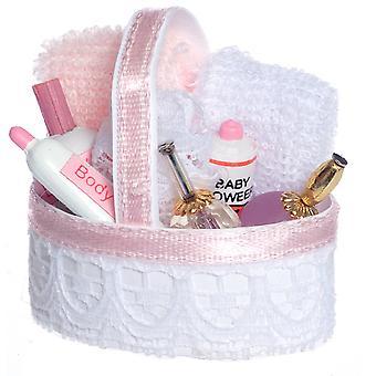 Dolls House Vaaleanpunainen kylpytuotteet Kosmetiikka Kori Miniatyyri 1:12 Kylpyhuone lisävaruste