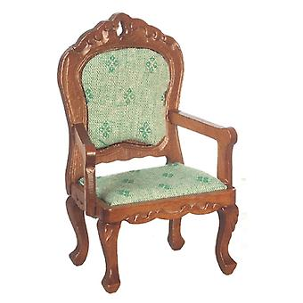 Puppen Haus Walnuss & grün Fauteuil Sessel viktorianischen Wohnzimmer Möbel