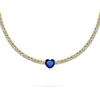 Colar Coração Único em Pedra Preciosa, Diamante, Ouro 18K - Rubi | Esmeralda | Safira | Safira Rosa - Ouro Amarelo, Safira