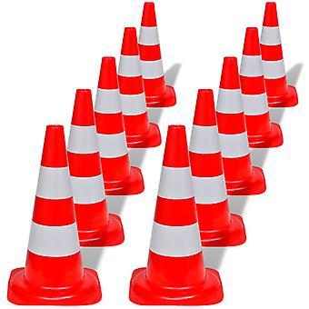 10 × مخروط حركة المرور الأحمر والأبيض عاكسة 50 سم