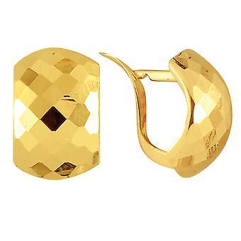 14 k geel gouden glanzende geciseleerde Look Snuggable oorbellen van ebben hout 10 x 15mm