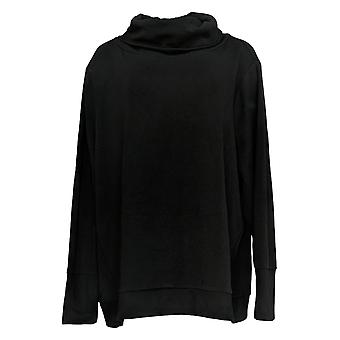 Anyone Women's Sweatshirt Peluche Terry Cowl Neck Black A345169