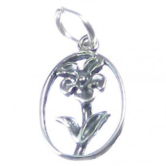 Flower Sterling Silver Charm .925 X 1 Kwiaty Rośliny Rośliny Ogrodnik Charms - 3703
