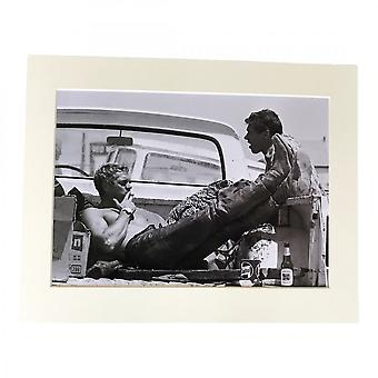 Larrini Mcqueen Chilling On His Pick Up Truck A4 Mounted Photo