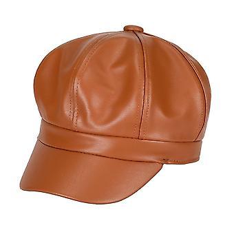 Pu Peaked Beret Cap, Retro Solid Color Octagonal Cap Winter Autumn Painter,