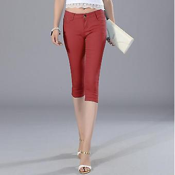 Elastic Force Cropped Trousers Pencil Pants High Waist Jeans For Woman