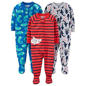 Simple Joys by Carter's Boys' 3-Pack Loose Fit Resiste a Pijamas com Pés, Iguana/Criaturas do Mar/Tubarão, 6-9 Meses