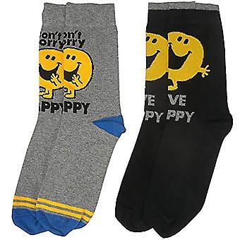 Mr Men Mr Happy Men's Socks (Taglia 6-11, Confezione da 2)