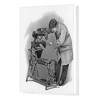 Singer Naaimachine - Schoen reparateurs Machine. Afdrukken van vakcanvas. Singer Naaimachine - Schoen.