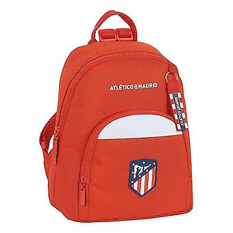 Casual backpack atlético madrid white red with badge on front
