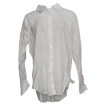 Attitudes door Renee Women's Top Parisian Button-Down Shirt White A376229