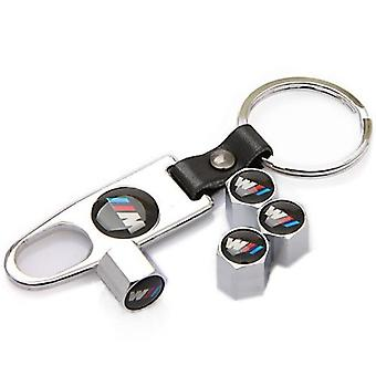 BMW M 4pc Chrome Car Tyre Air Dust Set of 4 Valve Stem Cap With Keyring Locking Tool