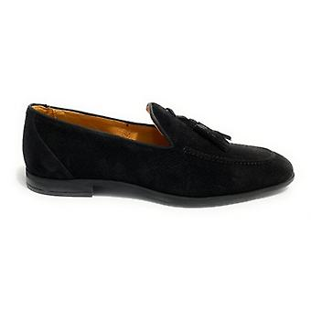 Lenny Men's Moccastine In Suede With Black Hole and Pendagli Us20el03