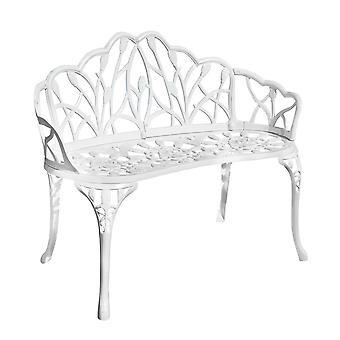 Weißes Gussaluminium 2-Sitzer Gartenpark Bank Outdoor Terrasse Patio Möbel