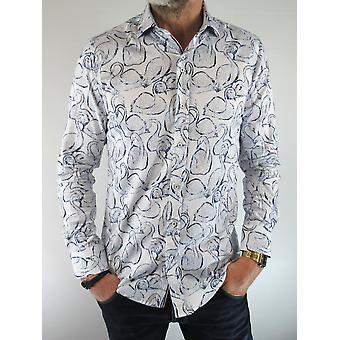 White & Blue Swan Print Shirt