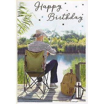 ICG Ltd Open Birthday Card Essence Range - Fishing