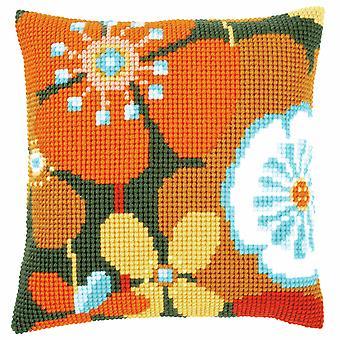 Vervaco Cross Stitch Kit: Cuscino: Fiori Retrò