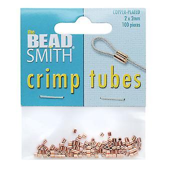 الخرز كريمب Beadsmith، أنبوب 2x2mm، 100 قطعة، النحاس مطلي