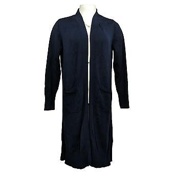 Isaac Mizrahi Live! kvinners åpen front genser duster cardigan blå a390247