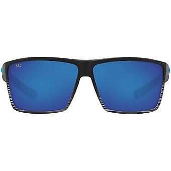 Costa Del Mar Mens Rincon Rectangular Sunglasses - Matte Smoke Crystal/Blue Mirrored - 63 mm